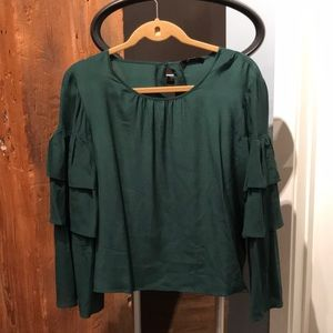 Madewell Silk Blouse with Tiered Bell Sleeves